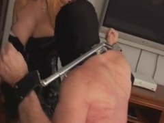 blond babe giving slave a sound whipping