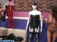 Femdom inked squirter in threesome