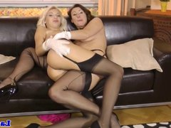 Mature euro goes lesbian with teen blonde