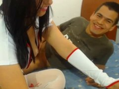 Beautyful nurse rimming on webcam