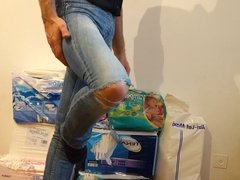 crossdresser in tight jeans with diaper under
