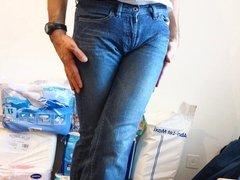 crossdresser in girlie pocketless jeans
