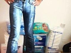 crossdresser in tight low waist girls jeans