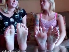 Ashley popping Cherrys perfect toes in her mouth