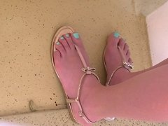 Candid Blue Toed Newlywed Feet on Cruise Ship
