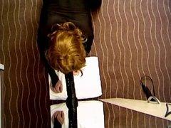 Claudia riding a black dildo