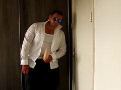 J-Art male solo 12 inch cock dildo with pilot sunglasses