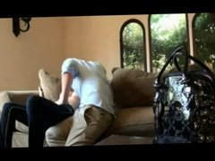 Amateur blonde fuck on couch
