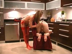 Mistress in Red and slave boy.