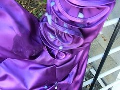 Andi's prom dress gets battered. Pouring on the cum stains.