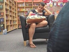Candid Sexy Feet In Sandals at Bookstore Pt 1