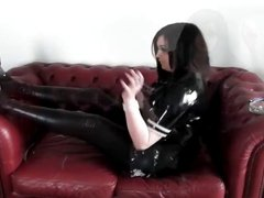 PRINCESS SMOKE - SMOKING FETISH ON THE SOFA IN PVC HEELS