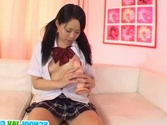 Schoolgirl stimulates her hairy pussy