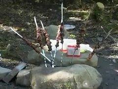 young Russian girls make a picnic