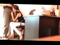 Hot brunette Italian secretary Sucks off her boss's cock