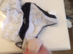 Playing with not my sisters friend and her moms panties