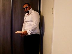 J-Art male solo with big cock dildo while wearing sunglasses