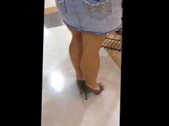 Grocery Shopping in skirt and high heels