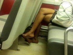 Candid Ebony Feet Legs Shoeplay Heelpopping Dangling