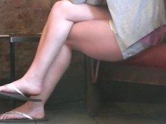 Candid Brunette Feet and Legs in Flip Flops Starbucks