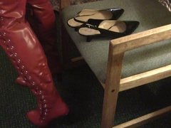 Cum inside black slingback heels