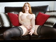 British slut Zara plays with herself on the sofa
