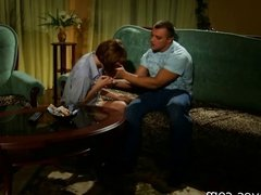 a beautiful Russian redhead with small tits being spanked an