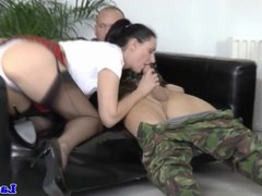 Ballgagged euro mature in stockings ass fucked