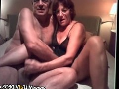 Older couple sucking and fucking on MILF GF contest line