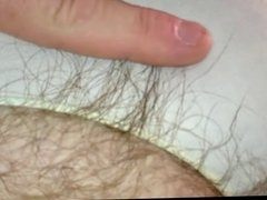 her hairy pubes hanging from white cotton pantys