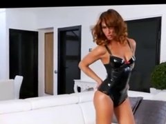 Latex beauty gets fucked
