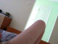 Blonde girl masturbate with buttplug