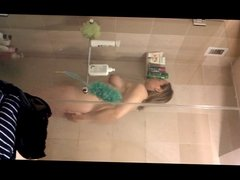 Shower Girl Posing and Preening in Front of Mirror
