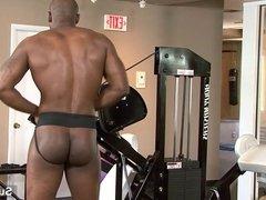 Hot black jock Diesel Washington wank cock in gym
