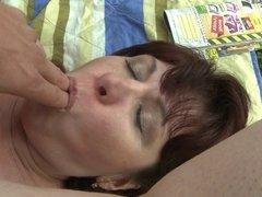 Mature slut seduces young boy outdoor