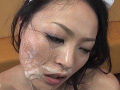 Japanese slut gets a lot of cum