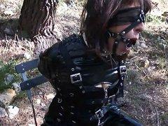 fetisch slavegirl in latex, ballet boots and armbinder