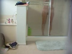 Glass door shower