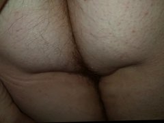 rubbing the wifes sexy hairy asshole & pussy