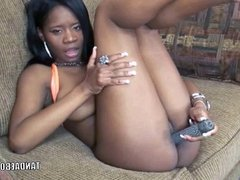 Cute coed Mercy Starr stuffs her ebony pussy with a dildo