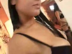 Sexy Asian undresses in front of man