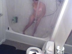 Hidden spy cam of house guest in shower