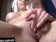 Blonde german wench masturbating