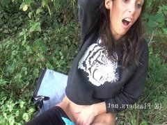 Flashing Ella James in public nudity and daring outdoor mast