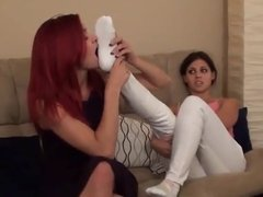 Thigh high lesbian sock foot worship