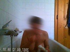 Hidden spy cam gorgeous busty MILF in the shower