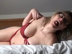 Horny hairy mature with fingers and toy
