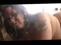 Pregnant BBW with glasses fucked