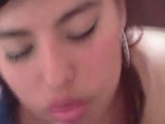 costa rican Latin girl covered her face cumshots