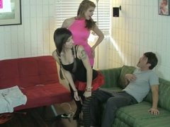sisters Break not brothers Balls and Tease Him FEMDOM